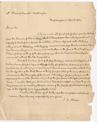Washington, D.C., 1839. p., on a folded folio sheet, with integral blank leaf. Quarto. Noticeable fr...