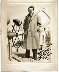image of ORIGINAL PHOTOGRAPH of the ACADEMY AWARD WINNING AMERICAN MOVIE STAR PAUL MUNI, INSCRIBED_SIGNED by MUNI aboard ship after his benefit performance in ISRAEL.
