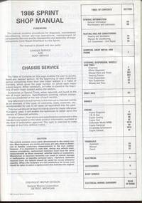 1986 Sprint Shop Manual:  Chassis Service by Chevrolet Motor Division - Hardcover - 1985 - from Twin City Antiquarian Books (SKU: TEAU00013)