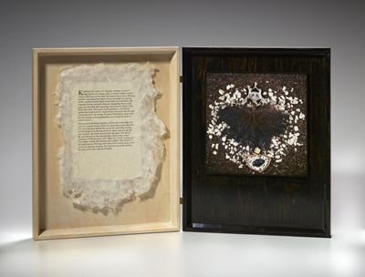 Palo Alto, CA, 1991. Artist's book, unique, poem on handmade paper and Cibachrome photograph, presen...