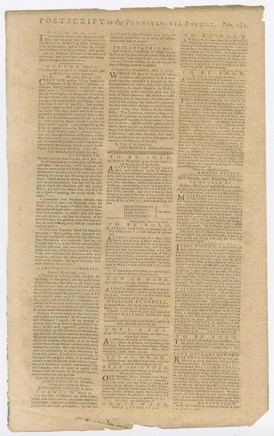 [Philadelphia, 1775. Broadsheet, approximately 16 1/4 x 10 inches. Edges slightly chipped. One 4 1/2...