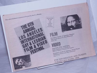Los Angeles: The Gay and Lesbian Media Coalition, 1988. Event calendar folded to 8.5x11 inches, film...