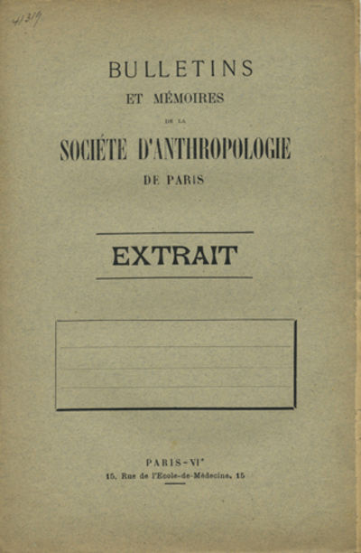 Paris: Imp. René Barrillier, 1918. Offprint. Paper wrappers. A very good copy.. pp. Sm. 4to. In: Bu...