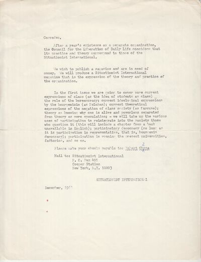 New York: (Richard Chasse). 1968. Leaflet. Mimeographed letter, very good+ in which Robert Chasse an...