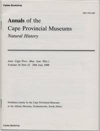 ANNALS OF THE CAPE PROVINCIAL MUSEUMS. Volume 16. Part 12.