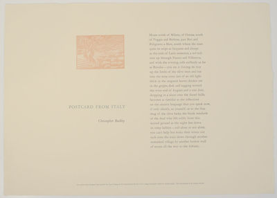 : Greenhouse Review Press, nd. First edition. Broadside printed in three colors that measures 21