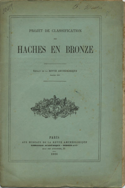 Paris: Revue archéologique, 1866. Offprint. Paper wrappers. A very good copy with foxing on plates,...