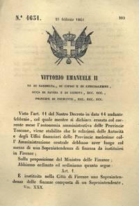 con cui si istituisce nella Città di Firenze una Sopraintendenza delle Finanze composta da un Sopraintendente, un segretario generale e impiegati.