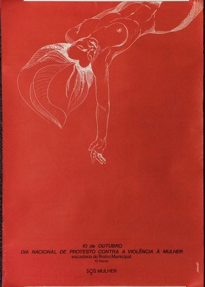 : SOS Mulher, . 17.25x24.75 inch poster, some edgewear, mostly at lower left where there are several...