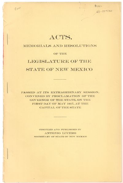 Santa Fe, New Mexico: State Record Print. Good. 1917. Softcover. Stapled binding. Tan wraps with lig...