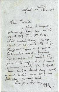 AUTOGRAPH LETTER SIGNED by  John RUSKIN - Signed - 19 November 1883 - from Charles Agvent (SKU: 019094)