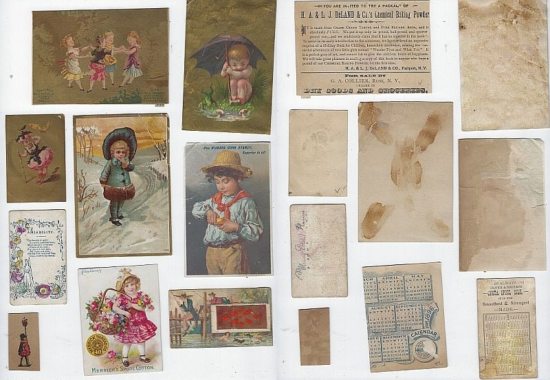 LOT OF NINE SCRAP VICTORIAN TRADE CARDS FEATURING CHILDREN, Advertisement
