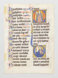 TEXT FROM THE END OF THE LITANY AND THE FIRST FIVE COLLECTS THAT FOLLOW by  FROM A PSALTER-HOURS IN LATIN MADE FOR A NUN A VERY UNUSUAL ILLUMINATED VELLUM MANUSCRIPT LEAF WITH FIVE HISTORIATED INITIALS - ca. 1260 - from Phillip J. Pirages Fine Books and Medieval Manuscripts (SKU: ST12987)