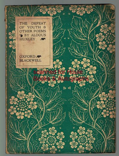 First edition. Octavo. Original green and white floral decorated wrappers (spine label lacking). No ...