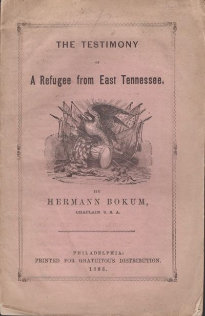 Philadelphia: Printed For Gratuitous Distribution, 1863. First Edition. Wraps. Very good. Stitched w...