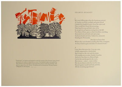 Iowa City, IA: University of Iowa Center for the Book, 2003. First edition. Broadside printed in thr...