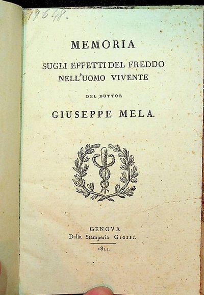 Genova: Dalla Stamperia Giossi, 1811. Boards. Good. vii, 27 pages. 8vo. 4 1/2 x 7 inches. 3/4 vellum...