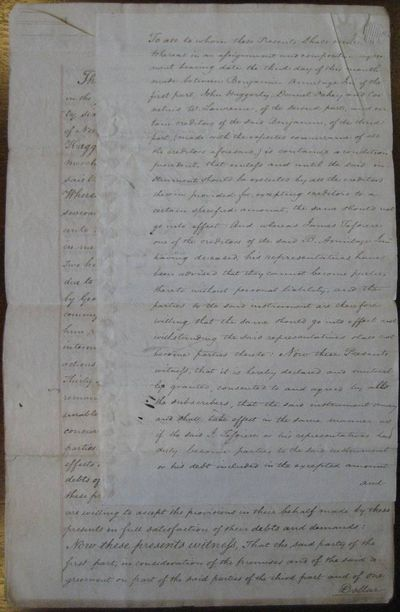 """DS. 9pg. 8 ½"""" x 11"""". April 3, 1826. New York. Two attached documents concerning the assignment ..."""