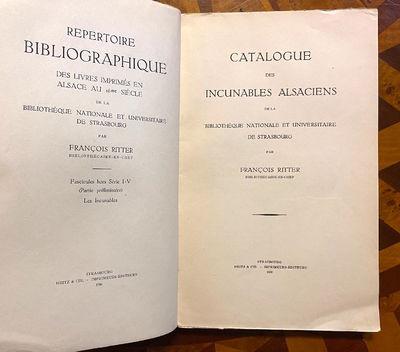 Strasbourg: Heitz et Cie, 1938. First Edition. Very good. 8vo. xxviii, , 136, pp. Original printed w...