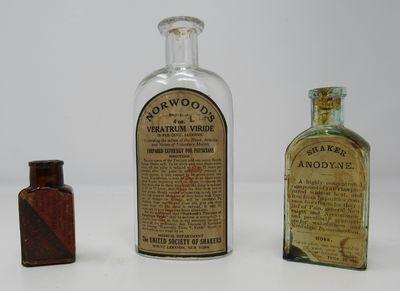 3 Shaker medicine bottles. Left to right: Shaker Family Pills....New York: A.J. White Co. Circa 1880...