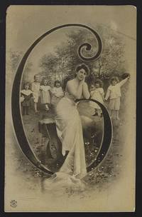 POSTCARD OF LOVELY LADY RESTING ON INITIAL C SURROUNDED BY CHILDREN