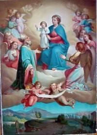 Madonna Assunta con angeli e Vescovo. Al di sotto panorama con città