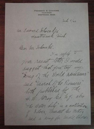Westwood, MA, 1940. unbound. Fine autographed letter signed