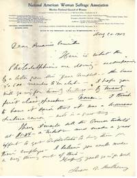 Susan B. Anthony Writes About a Women's Lecture Course By Women, to Promote Female Equality and Suffrage