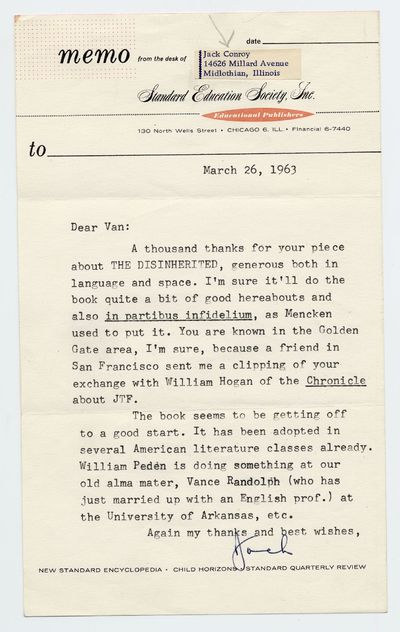 Unbound. Fine. Typed Letter Signed dated March 26, 1963. Envelope included. Fine, folded as mailed.