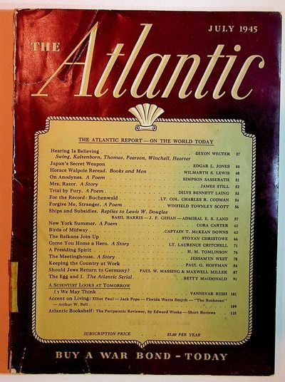 Boston, Massachusetts: The Atlantic Monthly Company, 1945. First Edition. Wrappers. Good. First Edit...