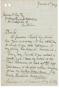 image of AUTOGRAPH LETTER SIGNED BY MISS MINTY LAMB, ADOPTED DAUGHTER OF JOURNALIST GEORGE R. SIMS, SEEKING TO DISCUSS AN AMERICAN LECTURE TOUR WITH JAMES B. POND.