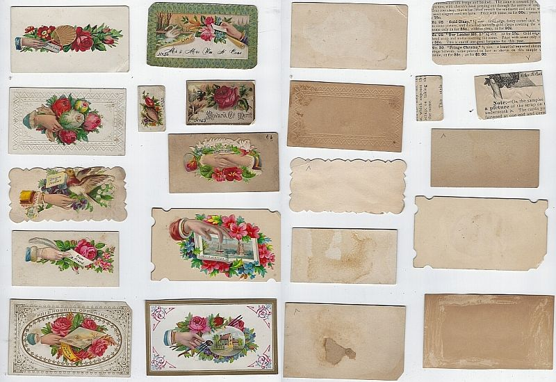 LOT OF ELEVEN SCRAP VICTORIAN CALLING CARDS WITH HANDS AND FLOWERS, Advertisement