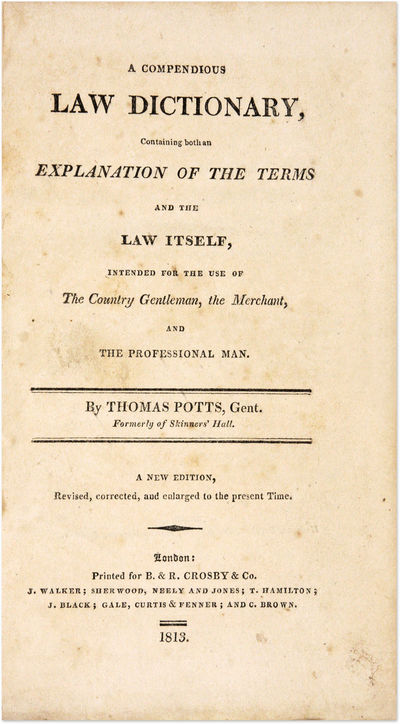 1813. London: Printed for B. & R. Crosby, 1813. 2nd ed.. London: Printed for B. & R. Crosby, 1813. 2...