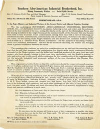 Southern Afro-American Industrial Brotherhood [...] To the Negro Ministry and Industrial Workers of this Greater District and Adjacent Counties, Greeting [...]
