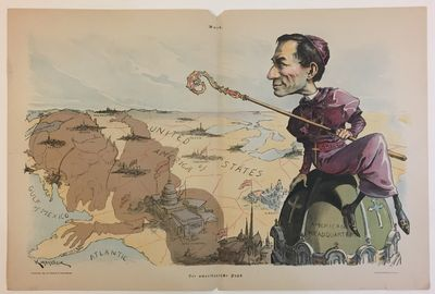 New York: Sackett and Wilhems, 1894. Victor Gillam. Double-page offset lithograph. Image measures 12...