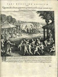 image of Pars Undecima Americae.  VIII.  Quomodo cibum apponere, potum consicere, ac coram rege choreas ducere soleant Barbari.  Engraving