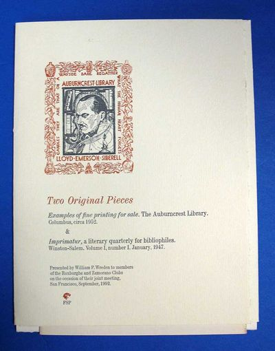 (n. p.): Presented by William P. Wreden, 1992. 1st edition thus. Pamphlets: printed white paper wrap...