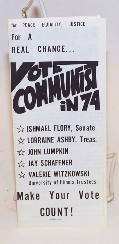 Chicago: Ishmael Flory for US Senator Campaign, 1974. Eight-panel brochure, bilingual text. Urges th...