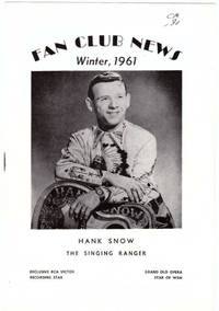Hank Snow Fan Club News (7 Issues, 1961-1966)