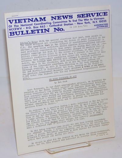 New York: Viet Nam News Service of the National Coordinating Committee to End the War in Vietnam, 19...
