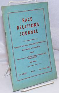 image of Race relations journal. Vol. XXVI no. 4 (Oct.-Dec. 1960)