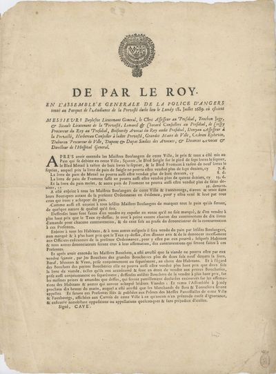 , 1689. Broadside, (). First edition. This royal proclamation regulates the prices bakers can charge...