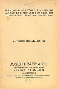Catalogue 752/(1929): Französische Literature & Sprache / Langue et  littérature françaises. Littérature Provençale, dialectes et patois.