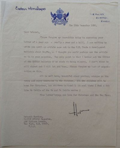 Sikkim, 1970. unbound. 1 page, 10 x 8 inches, The Palace, Gangtok, Sikkim, , December 16, 1970. Writ...