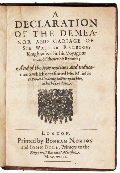 London: Bonham Norton and John Bill, 1618. Rare first edition, first issue, of the defense of James ...