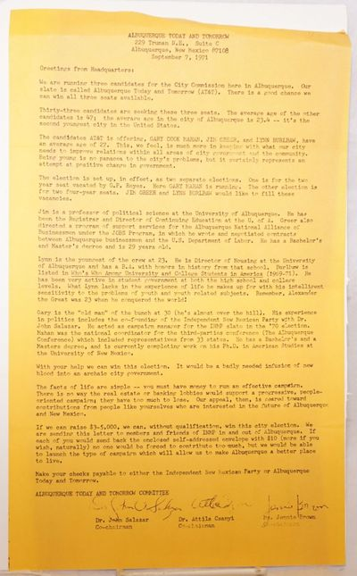 Albuquergue, NM: AT&T, 1971. Single 8.5x14 inch sheet, mimeographed one side, introducing the group'...