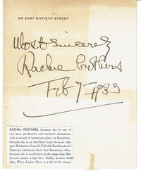 image of SHEET OF HER LETTERHEAD INSCRIBED AND SIGNED BY AMERICAN PLAYWRIGHT AND THEATRE DIRECTOR RACHEL CROTHERS.