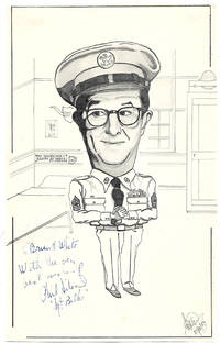 Phil Silvers Autograph on an Original Sketch of Sgt Bilko