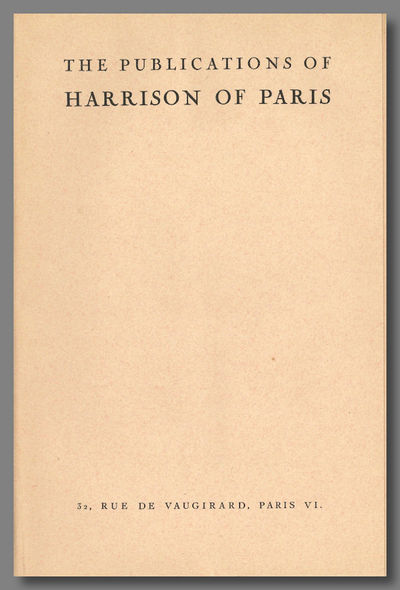 Paris: Harrison of Paris, 1930. Eight panels of text, printed on folded folio sheet. Fine. The first...
