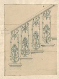 ORIGINAL SCALE DRAWING of balustrade with cast iron mask.